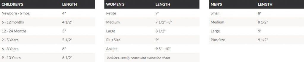 custom design bracelet size chart