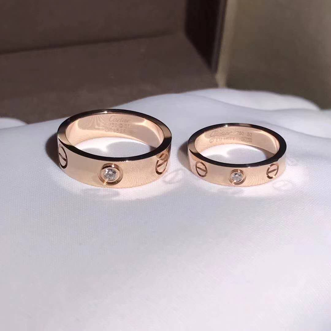Inspired Cartier Love Wedding Band with One Diamond, Pink Gold