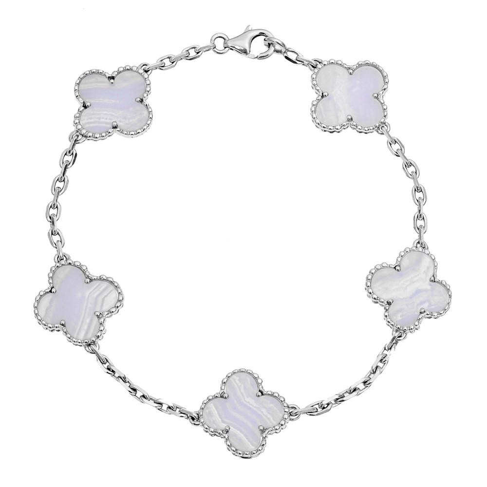 "18k White Gold & Chalcedony ""Vintage Alhambra"" Bracelet"