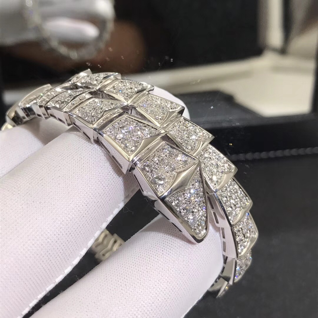 Bvlgari Serpenti One-coil Bracelet in 18kt White Gold with Full Pave Diamonds