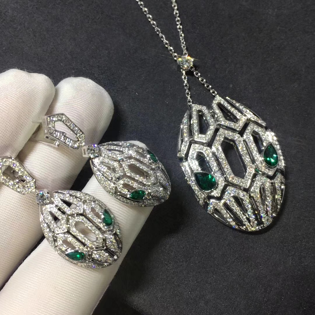 Inspired Bvlgari Serpenti Necklace & Earrings Set in White Gold with Pave Diamonds
