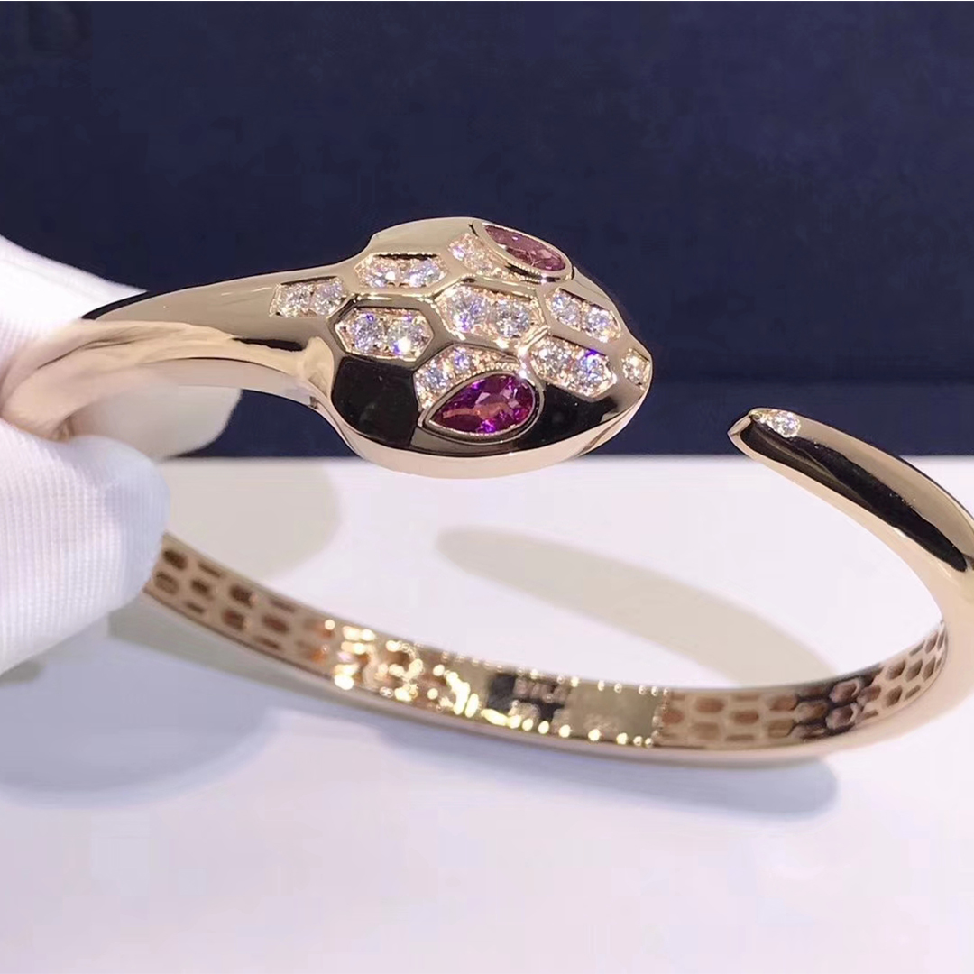 Inspired Bulgari Serpenti Bracelet in 18kt Rose Gold Set with Rubellite Eyes and Diamonds
