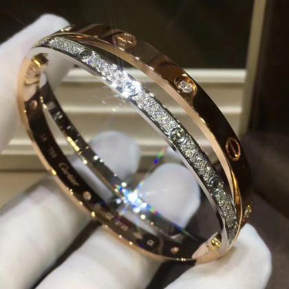 74c048c46c352 Cartier Cross Love Bracelet Pink Gold & White Gold with Pave Diamonds