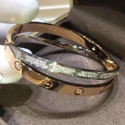 Cartier Cross Love Bracelet Pink Gold & White Gold with Pave Diamonds