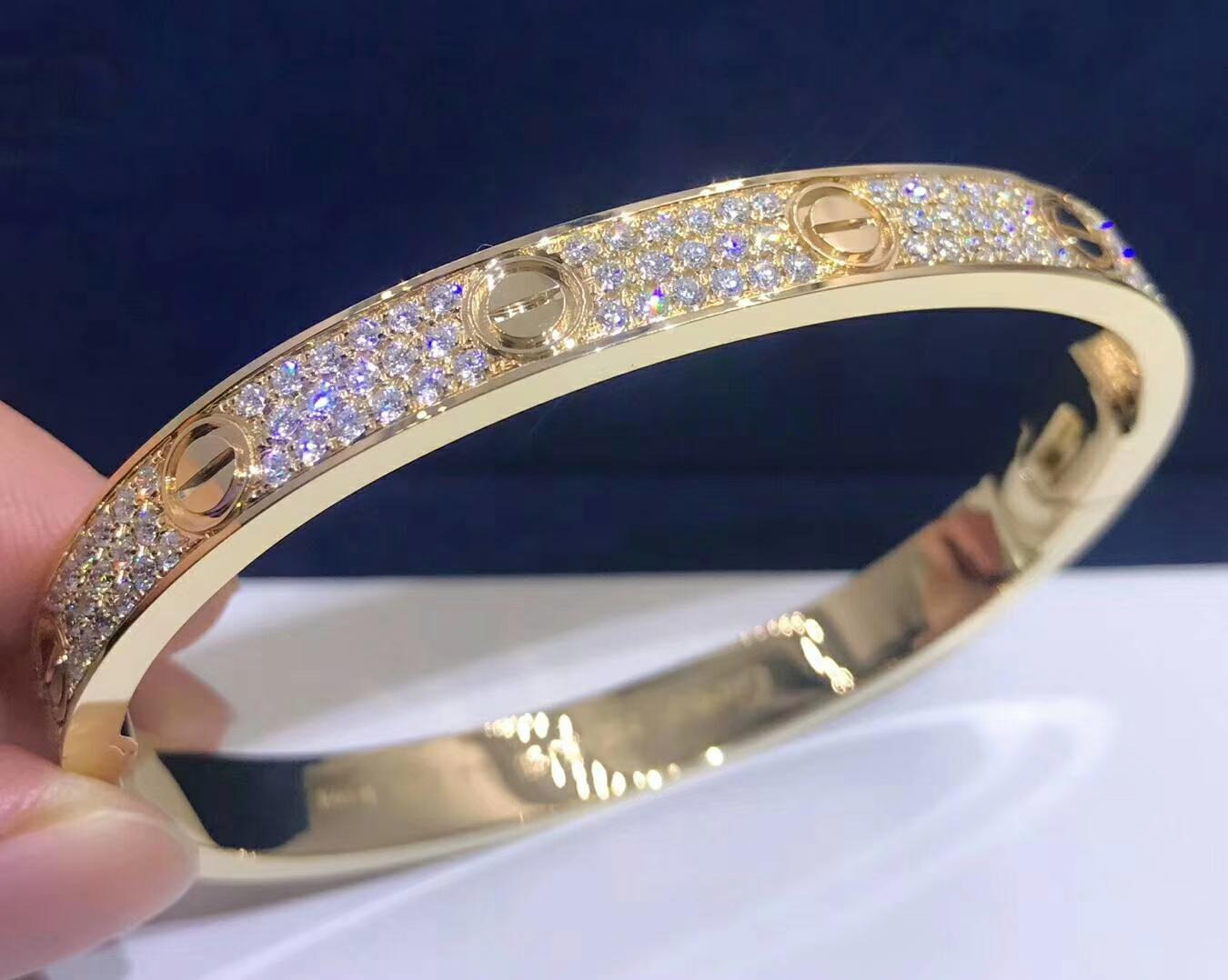 cartier love bracelet in 18k yellow gold 204 diamond paved. Black Bedroom Furniture Sets. Home Design Ideas