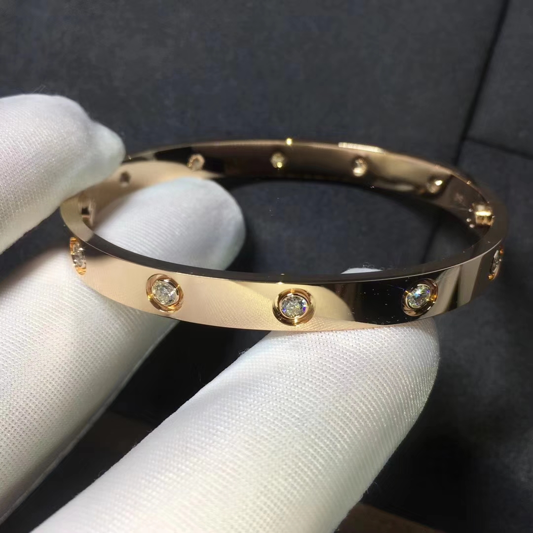 CARTIER LOVE BRACELET WITH 10 DIAMONDS PINK GOLD
