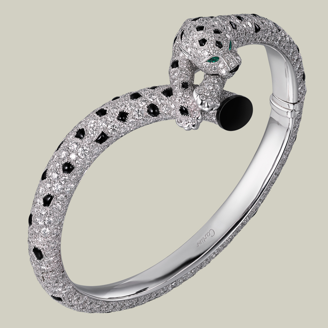 Panthère de Cartier Bracelet in 18K White Gold with Pave Diamonds and Onyx