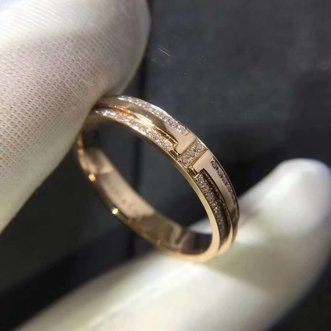 Inspired Tiffany T Two Narrow Ring in 18k Rose Gold with Pavé Diamonds