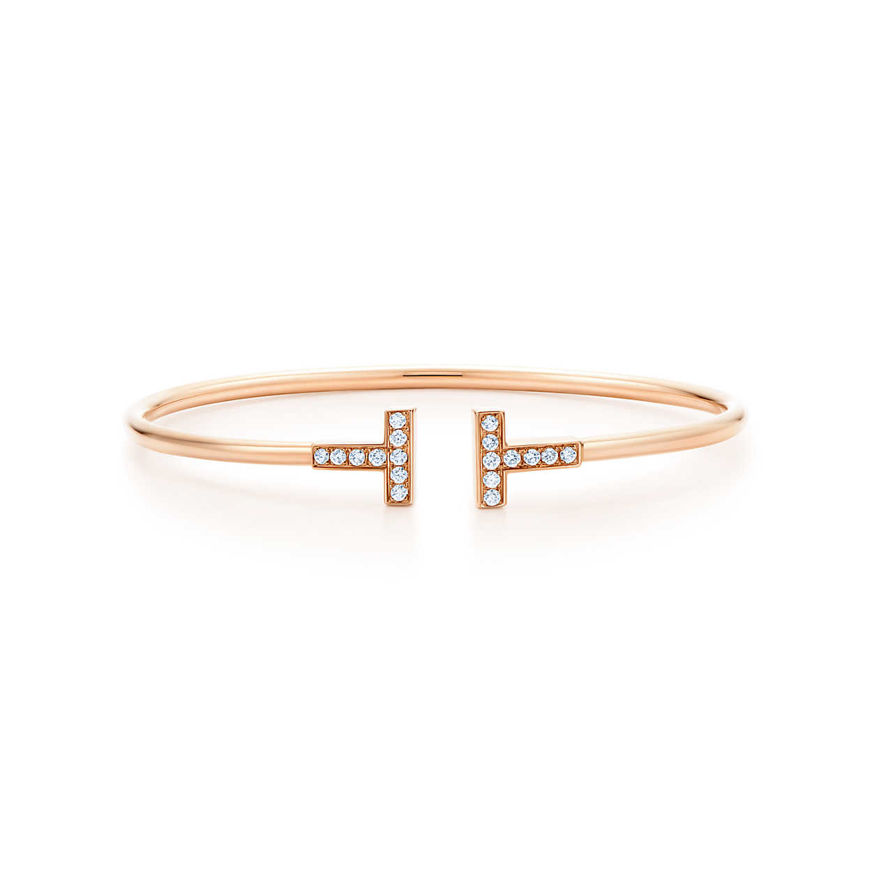 Inspired Tiffany T Wire Bracelet in 18kt Rose Gold with Diamonds