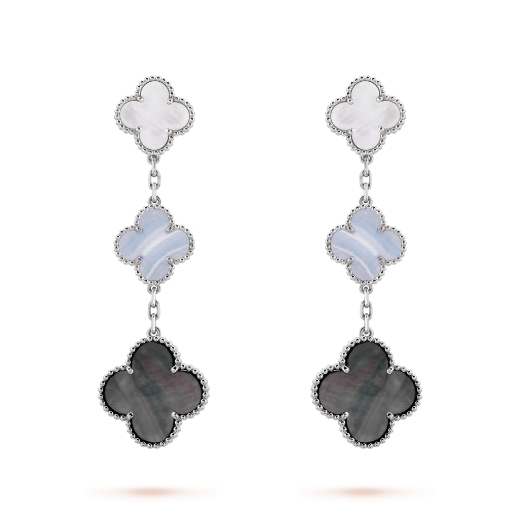 Van Cleef & Arpels Magic Alhambra 3 Motifs Earrings in White Gold with White and Gray Mother-of-Pearl, Chalcedony