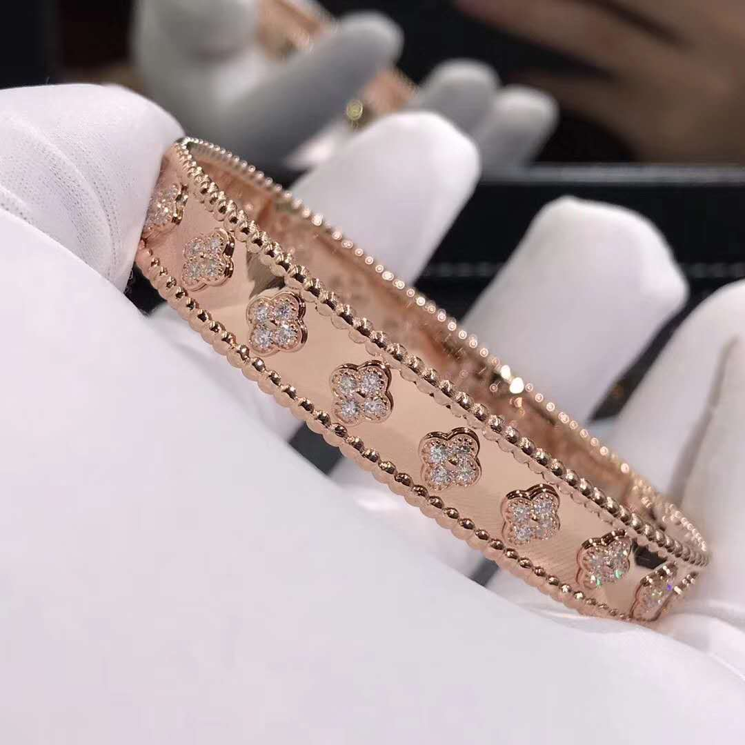 Custom Van Cleef & Arpels Perlée Clovers Bracelet in Pink Gold with Diamonds