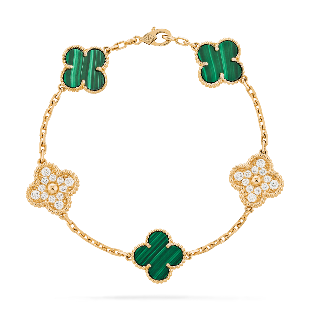 18KT VCA Vintage Alhambra 5 Motifs Bracelet with Malachite and Diamonds