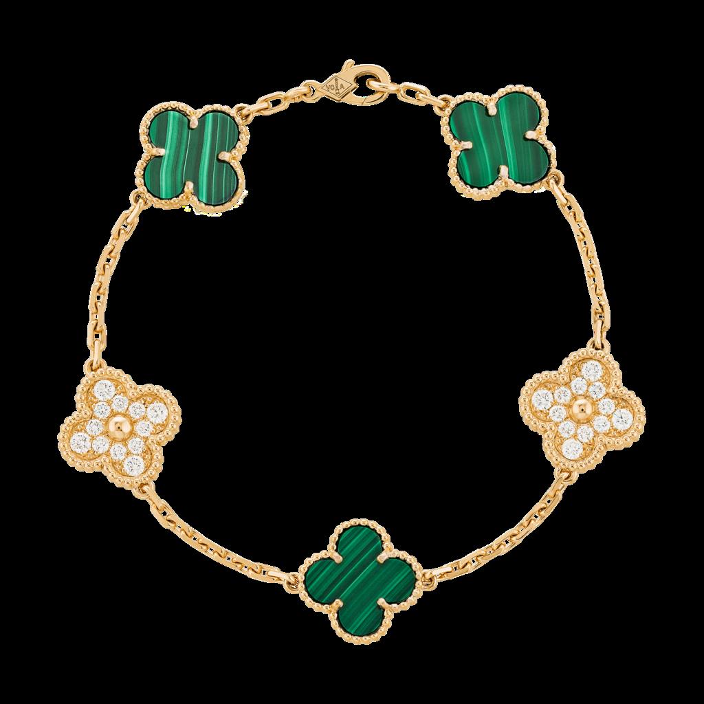 18KT VCA Vintage Alhambra 5 Motifs Bracelet with Malachite and Diamonds