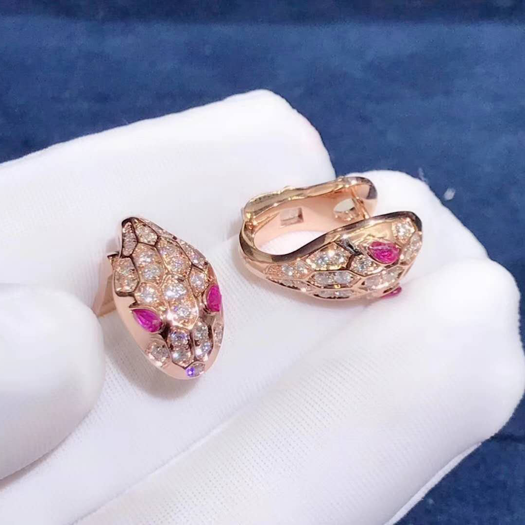 Bvlgari Serpenti Earrings in 18kt Rose Gold Set with Rubellite Eyes and Full Pave Diamonds