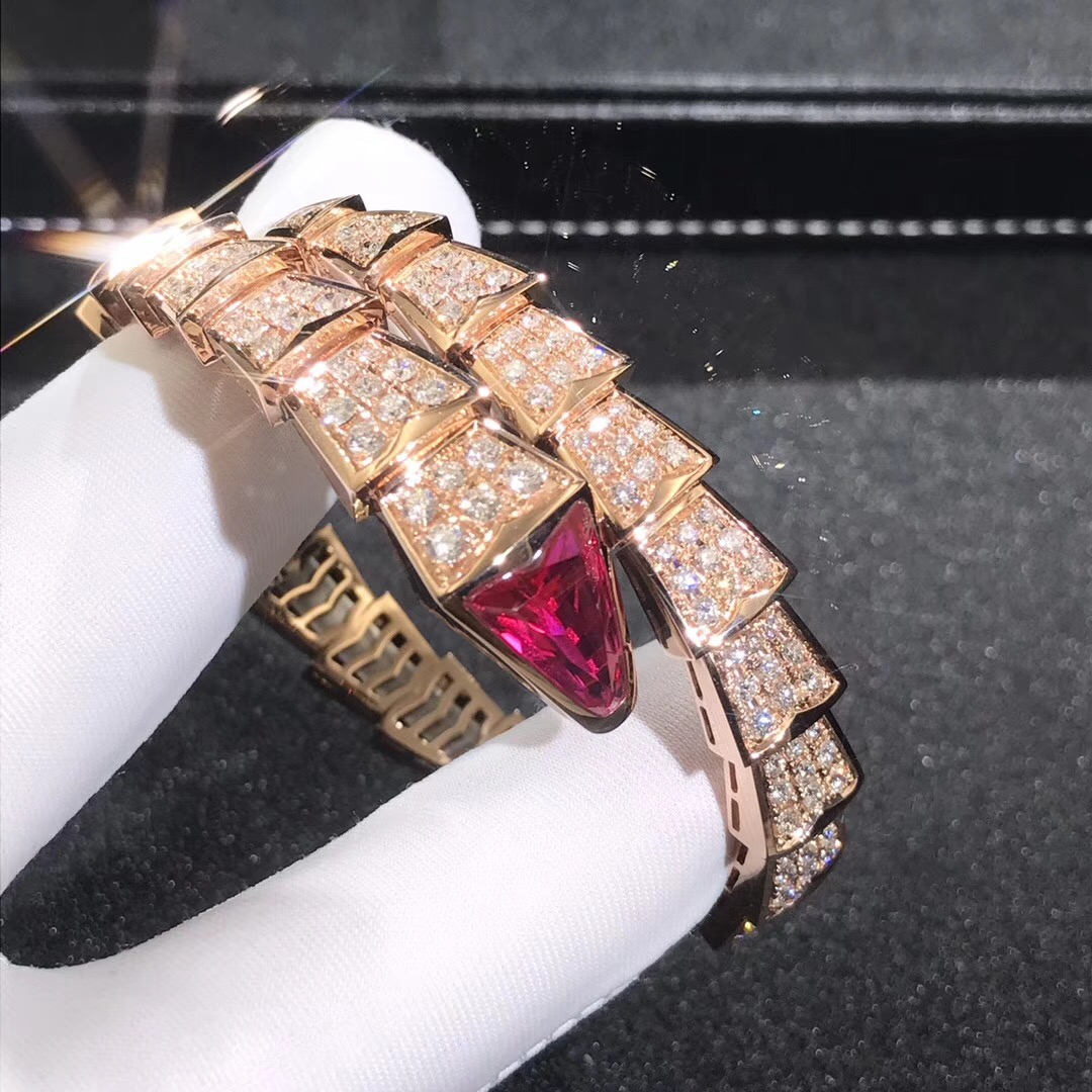Bulgari Serpenti One-Coil Bracelet in 18k Rose Gold with Pavé Diamonds and Rubellite
