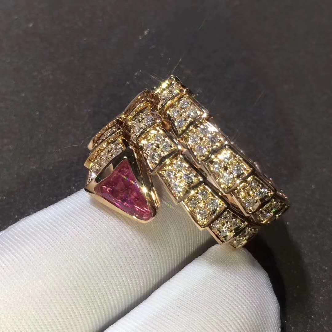2f05c0493 Serpenti Two-coil Ring in 18 kt Yellow gold set with Full Pave Diamonds and  a Rubellite on the Head