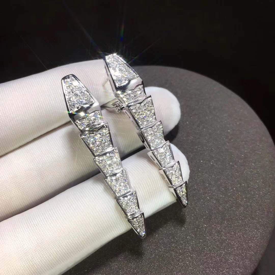 Serpenti Earrings in 18kt White Gold set with Full Pave Diamonds