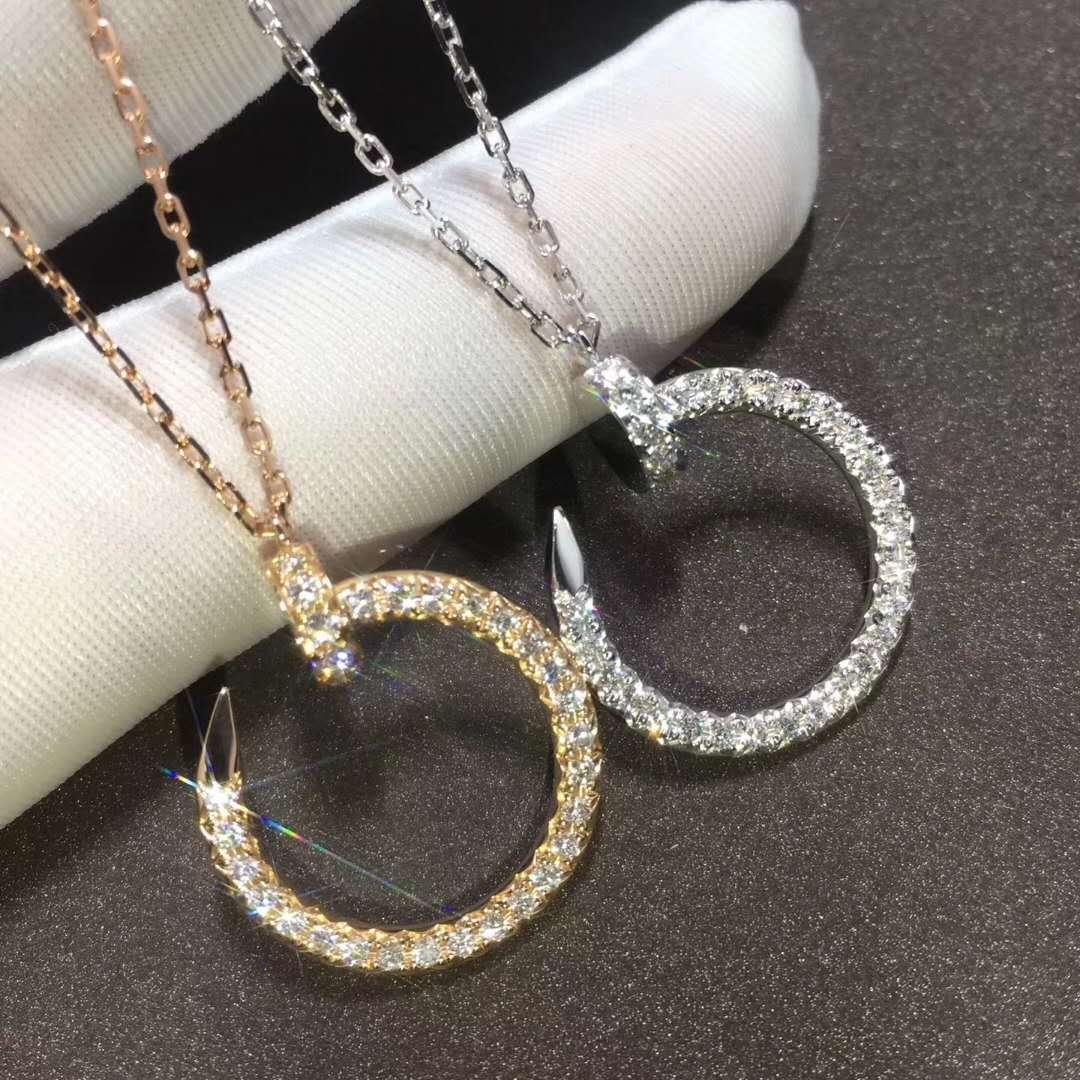 18K Gold Cartier Juste un Clou Necklace with Full Pave Diamonds