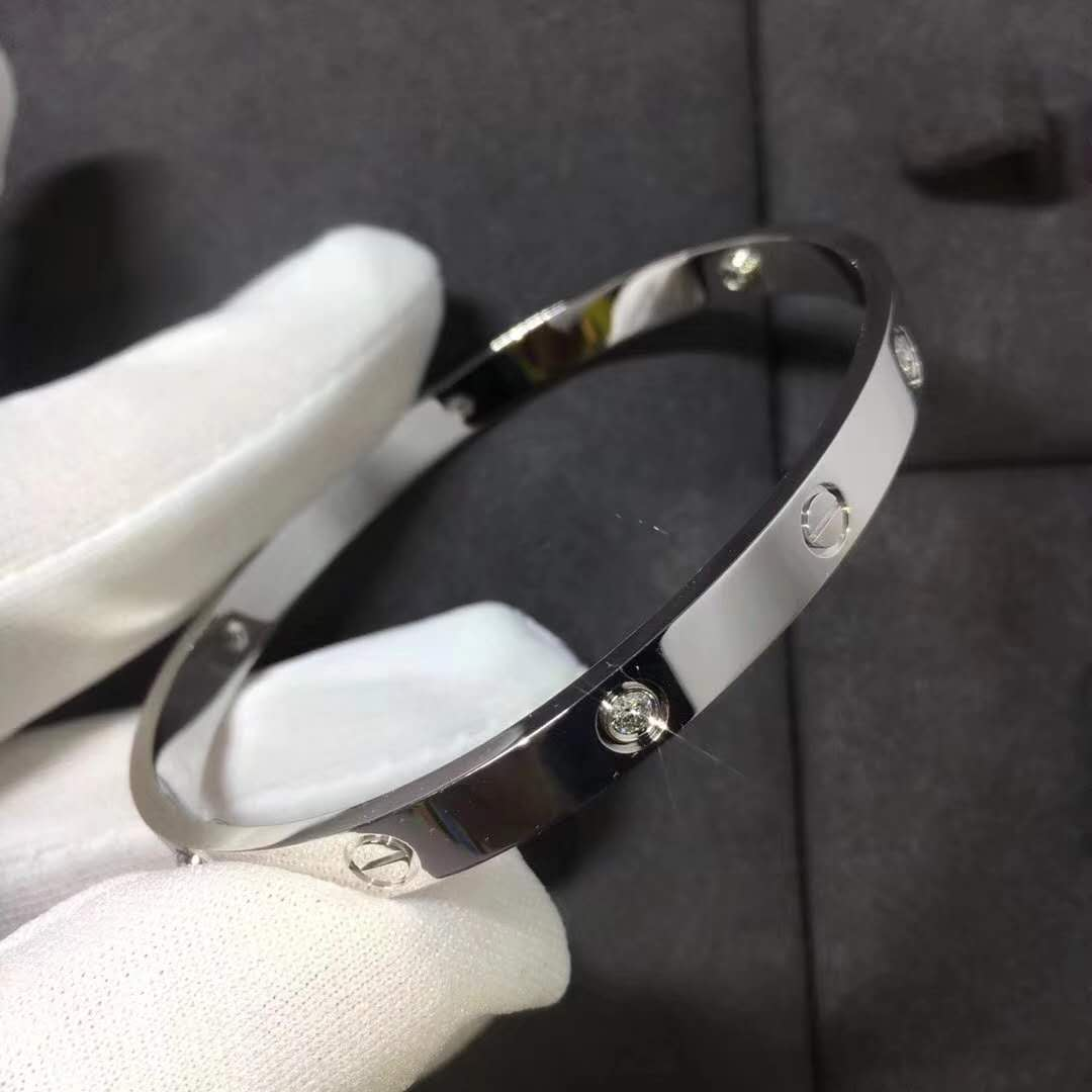 Cartier Love Bracelet in 18k White Gold with Four Diamonds B6035817