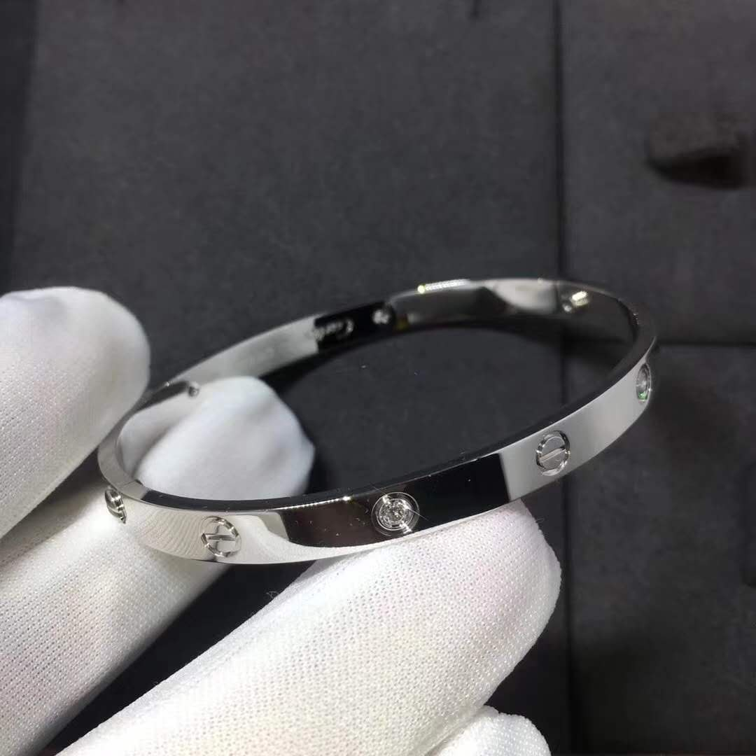 cb7bf9587c5f9 Cartier Love Bracelet in 18k White Gold with Four Diamonds B6035817