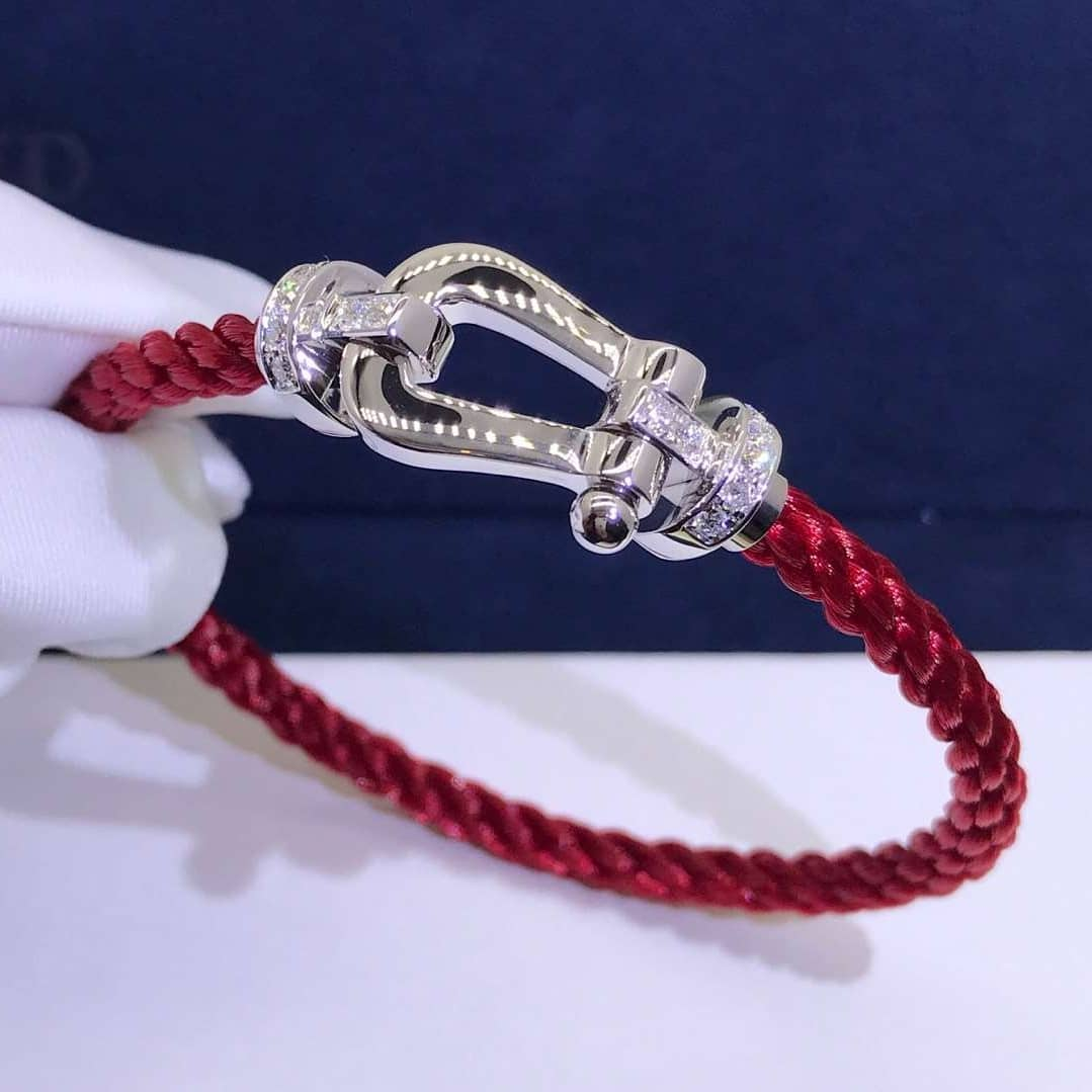 Fred FORCE 10 Buckle Bracelet in White Gold with Diamonds and Red Textile Cable