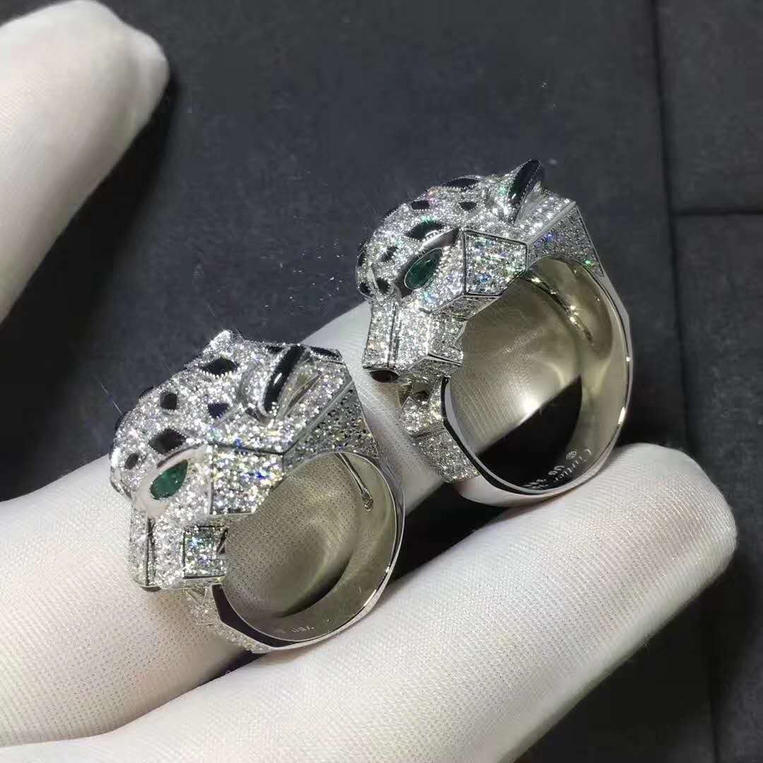 Panthere de Cartier Ring in 18k White Gold with Diamonds, Emeralds and Onyx N4211000
