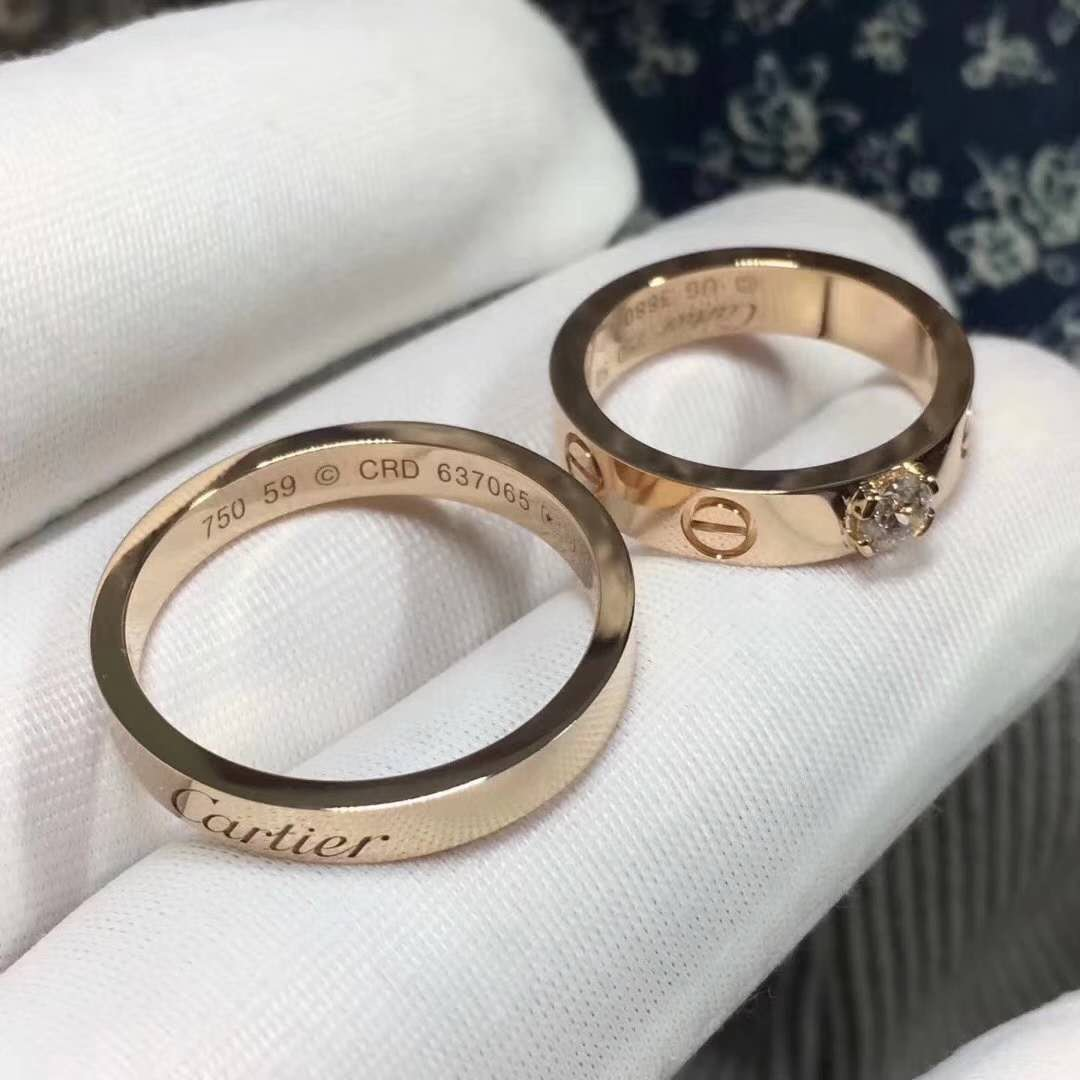 18K Pink Gold Cartier Wedding Rings