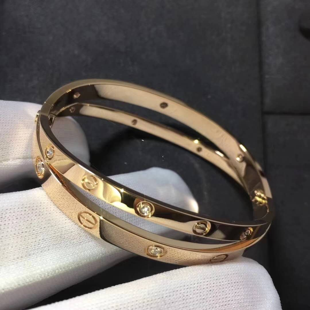 Custom Made 18K Cartier Love Bracelet with 12 Diamonds