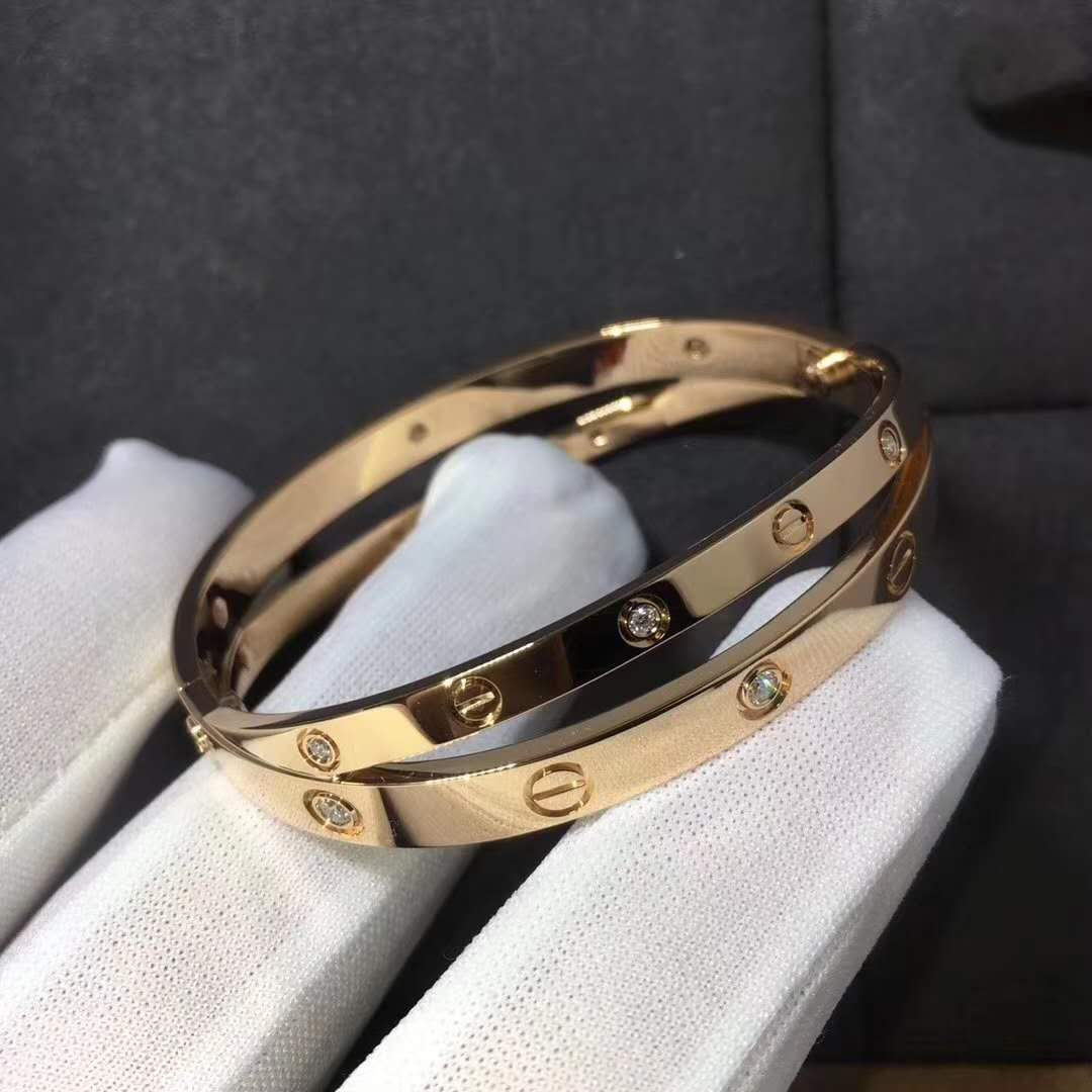 9216d65cd6 Custom Made 18K Cartier Love Bracelet with 12 Diamonds