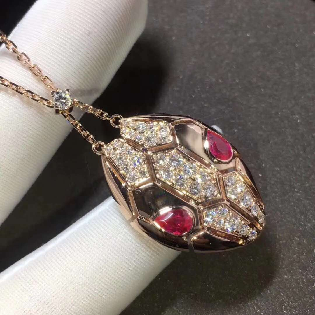 18K Rose Gold Serpenti Necklace with Rubellite Eyes and Semi Pave Diamonds