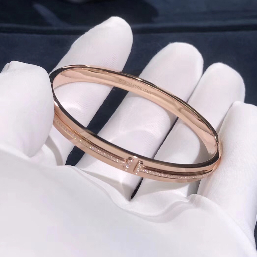 Tiffany T Two Hinged Bracelet in 18k Rose Gold with Diamonds