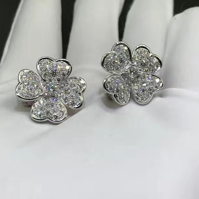 18k White Gold Van Cleef & Arpels Cosmos Earrings with Pave Diamonds VCARO68J00
