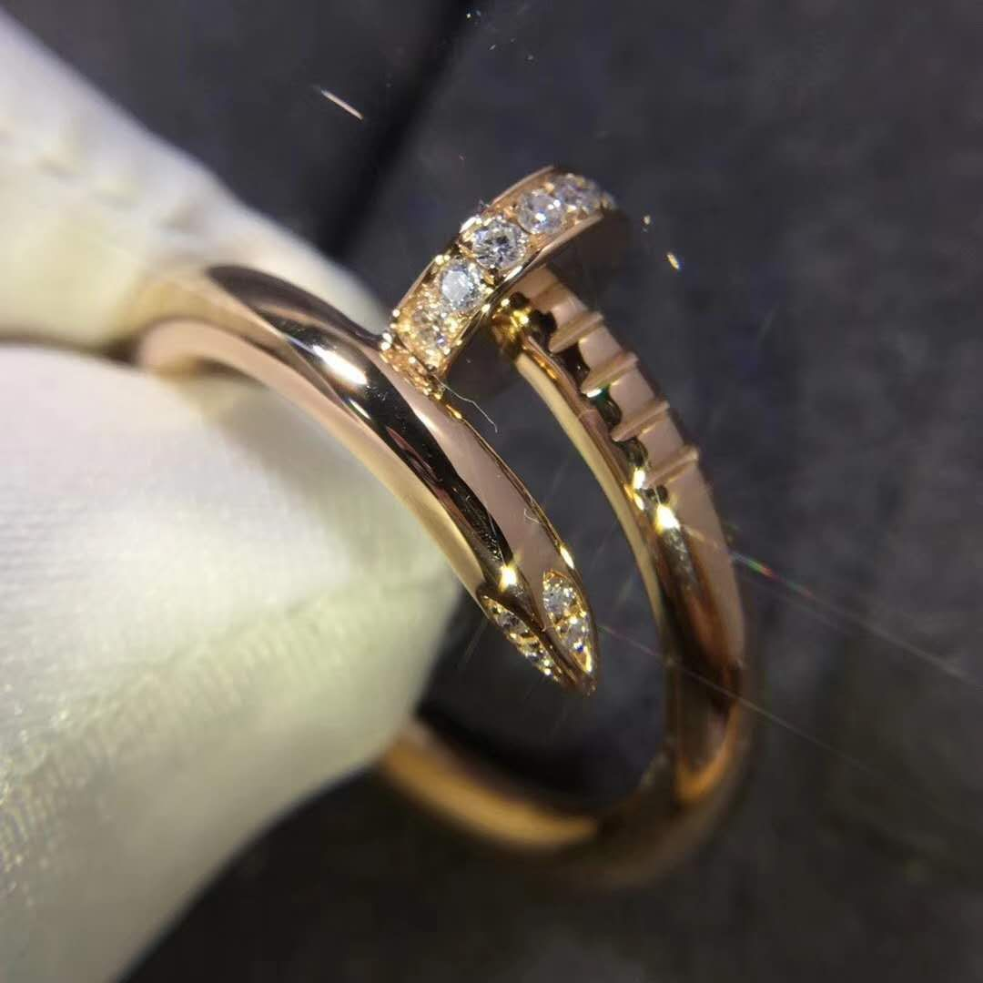 Cartier Juste un Clou Ring in 18k Pink Gold with Diamonds B4094800