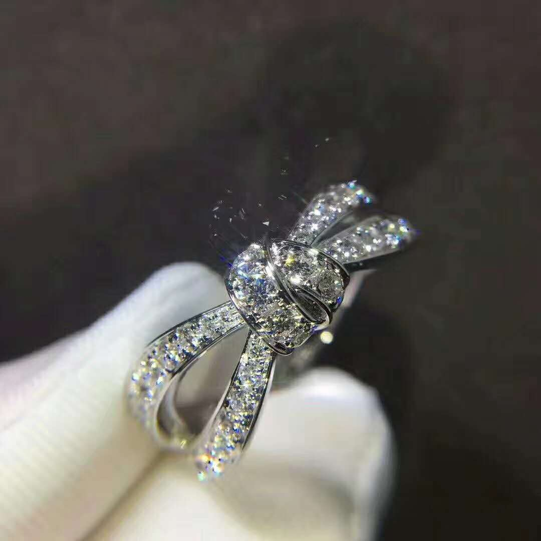 Chaumet Liens Séduction Diamond Bow Ring in 18k White Gold
