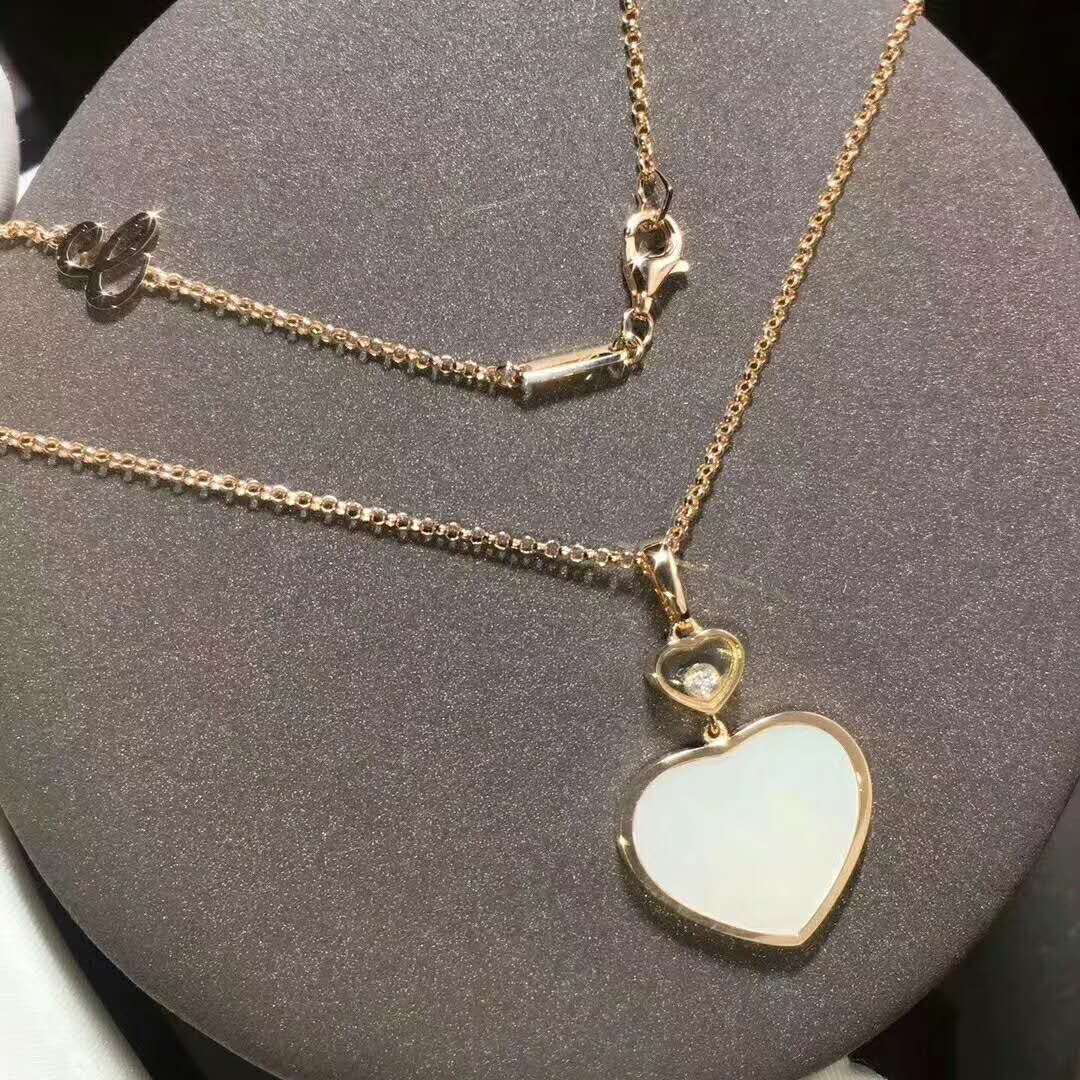 Chopard Happy Hearts Necklace in 18kt Rose Gold with Diamond and Natural Mother of Pearl