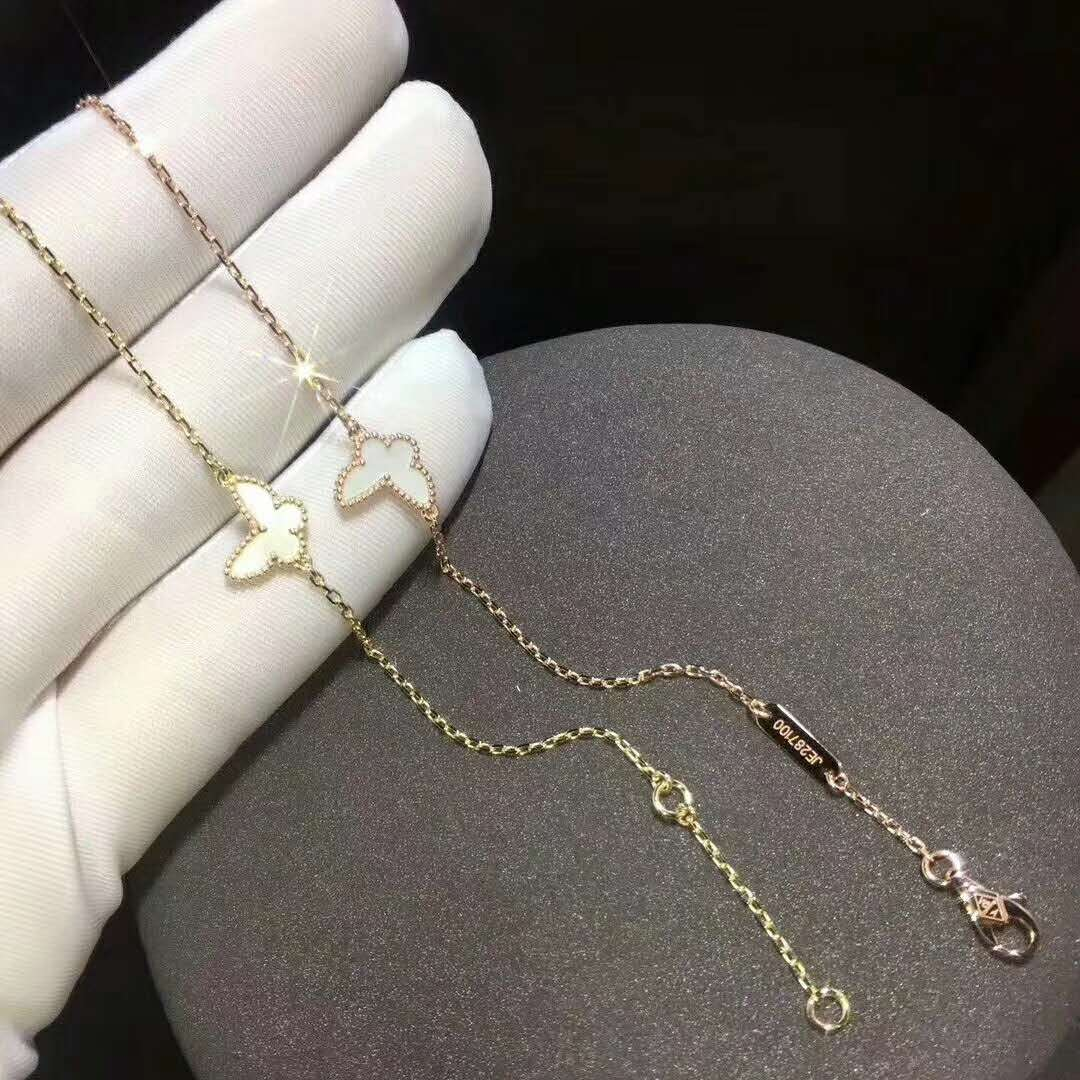18K Van Cleef & Arpels Sweet Alhambra Butterfly Bracelet with Mother of Pearl