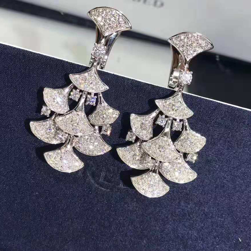 18KT White Gold Divas Dream Earrings set with Full Pave Diamonds
