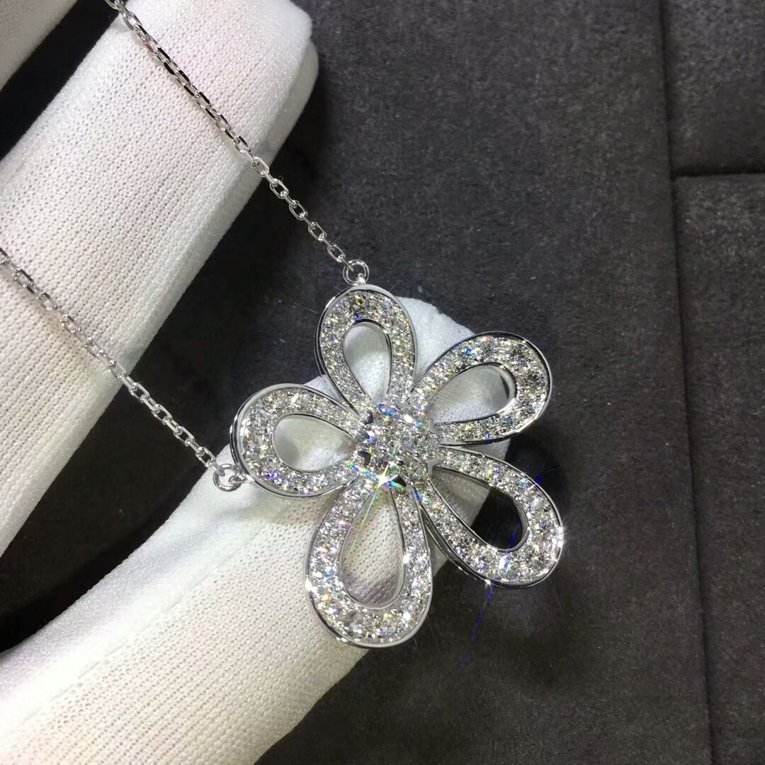 Van Cleef & Arpels Flowerlace Pendant in 18k White Gold with Full Diamonds
