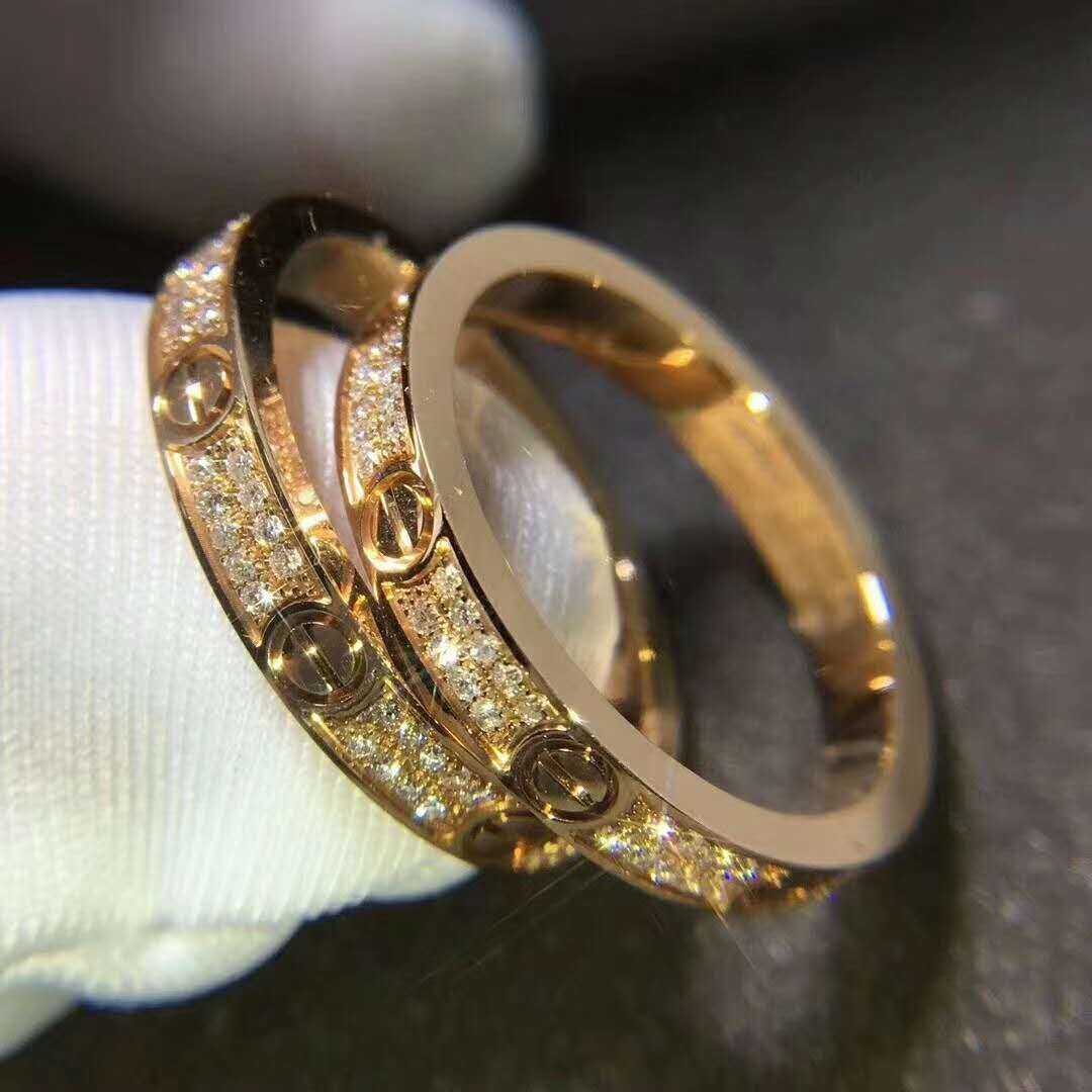 Cartier Love Ring Small Model in 18k Pink Gold with Diamonds B4218100