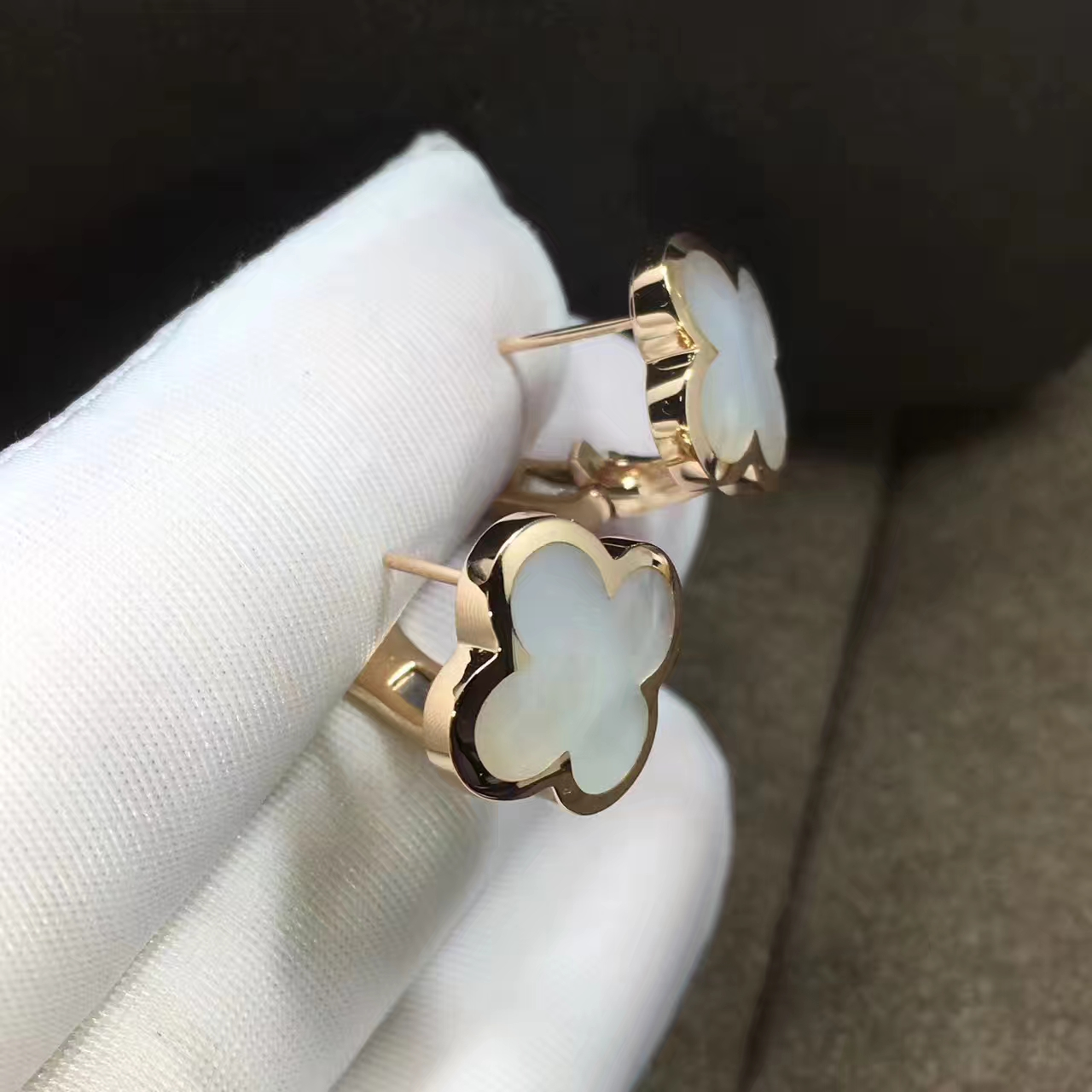 Van Cleef & Arpels Pure Alhambra Earrings in 18k Yellow Gold with Mother of Pearl VCARA38800