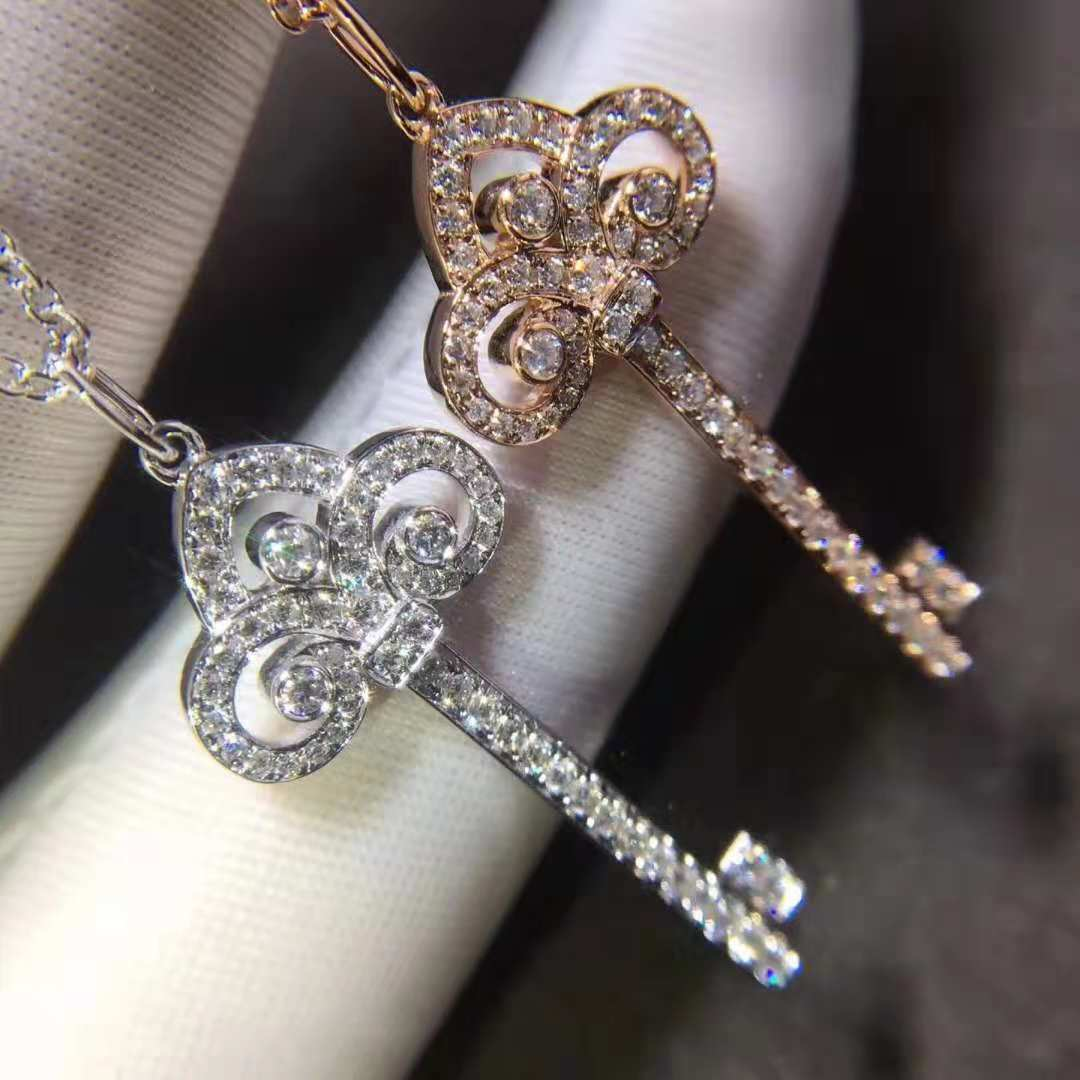 18k TIFFANY KEYS Fleur de Lis Diamond Key Pendants