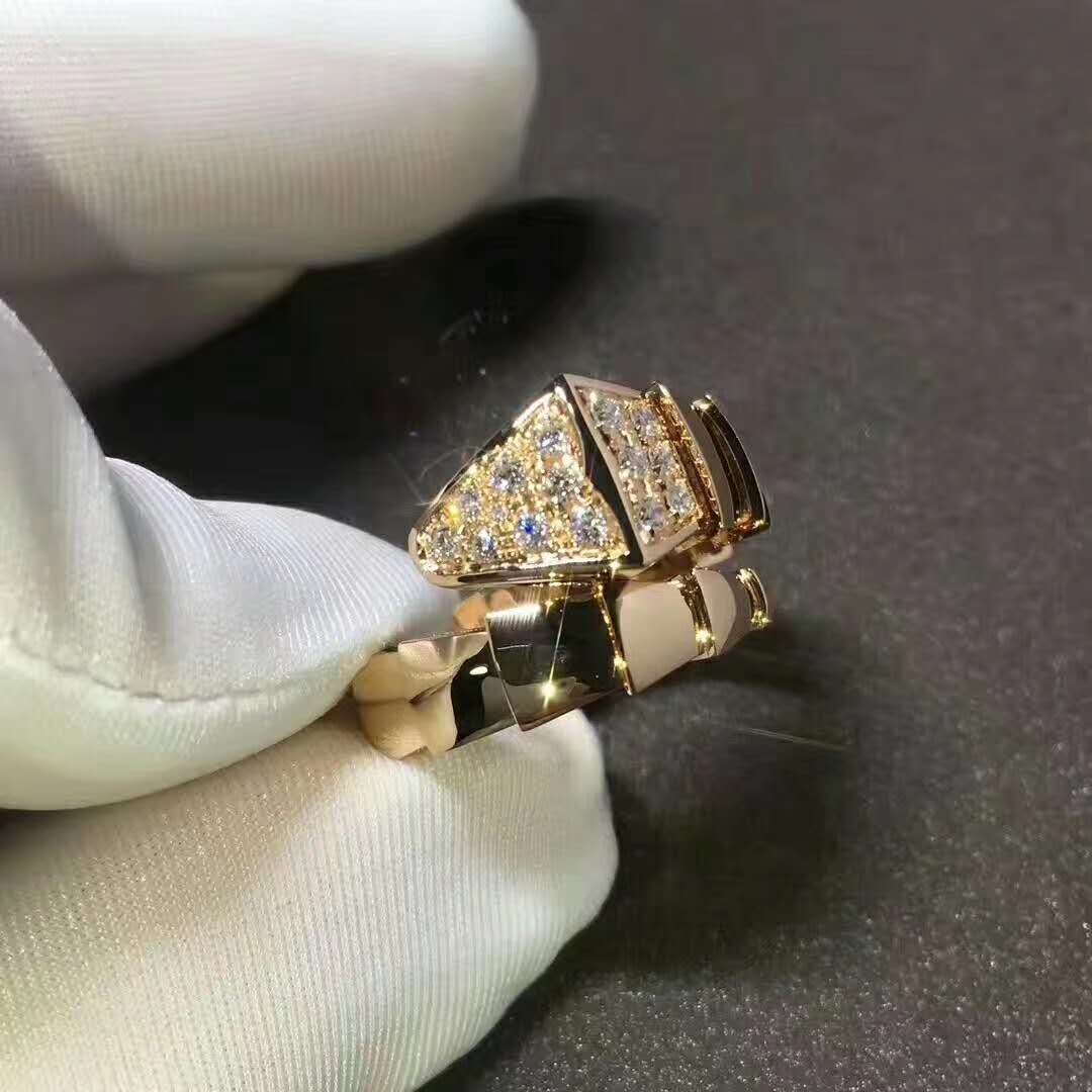 cfbcdc70941d7 Bvlgari Serpenti One-coil Ring in 18kt Rose Gold set with Paved Diamonds on  the