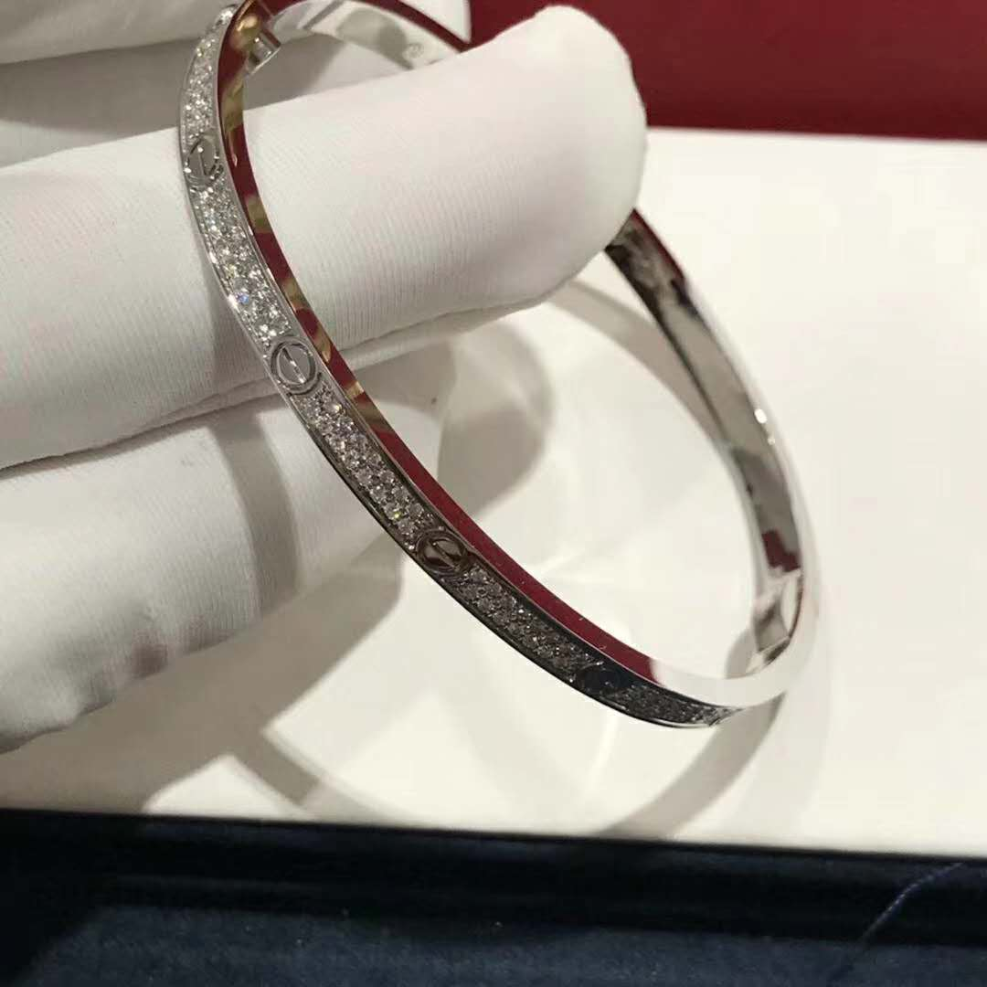 18K White Gold Cartier Love Bracelet with Pave Diamonds Small Model N6710817