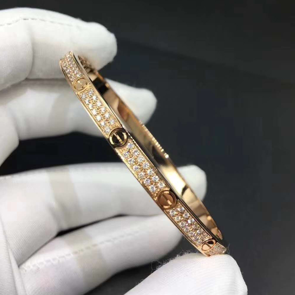 18K Pink Gold Cartier Love Bracelet with Pave Diamonds Small Model N6710717