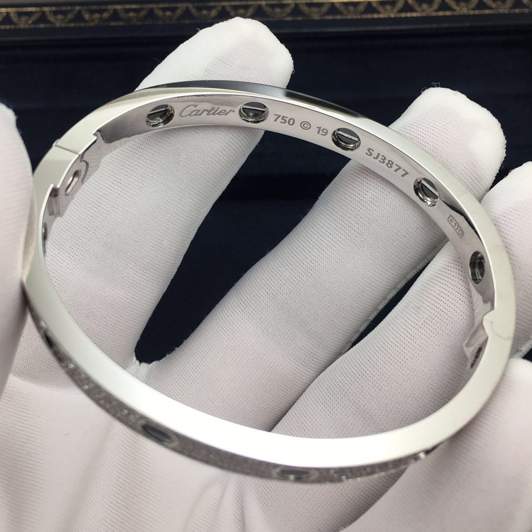 18K White Gold Cartier Love Bracelet Pave Diamonds with Black Ceramic set with 240 Diamonds