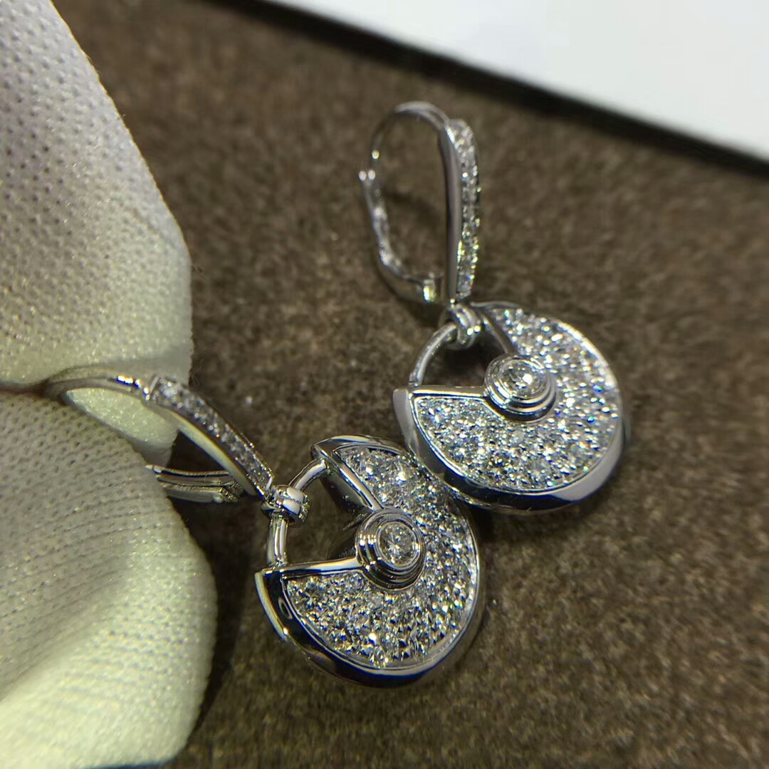 Amulette de Cartier 18ct White Gold and Pave Diamond Earrings