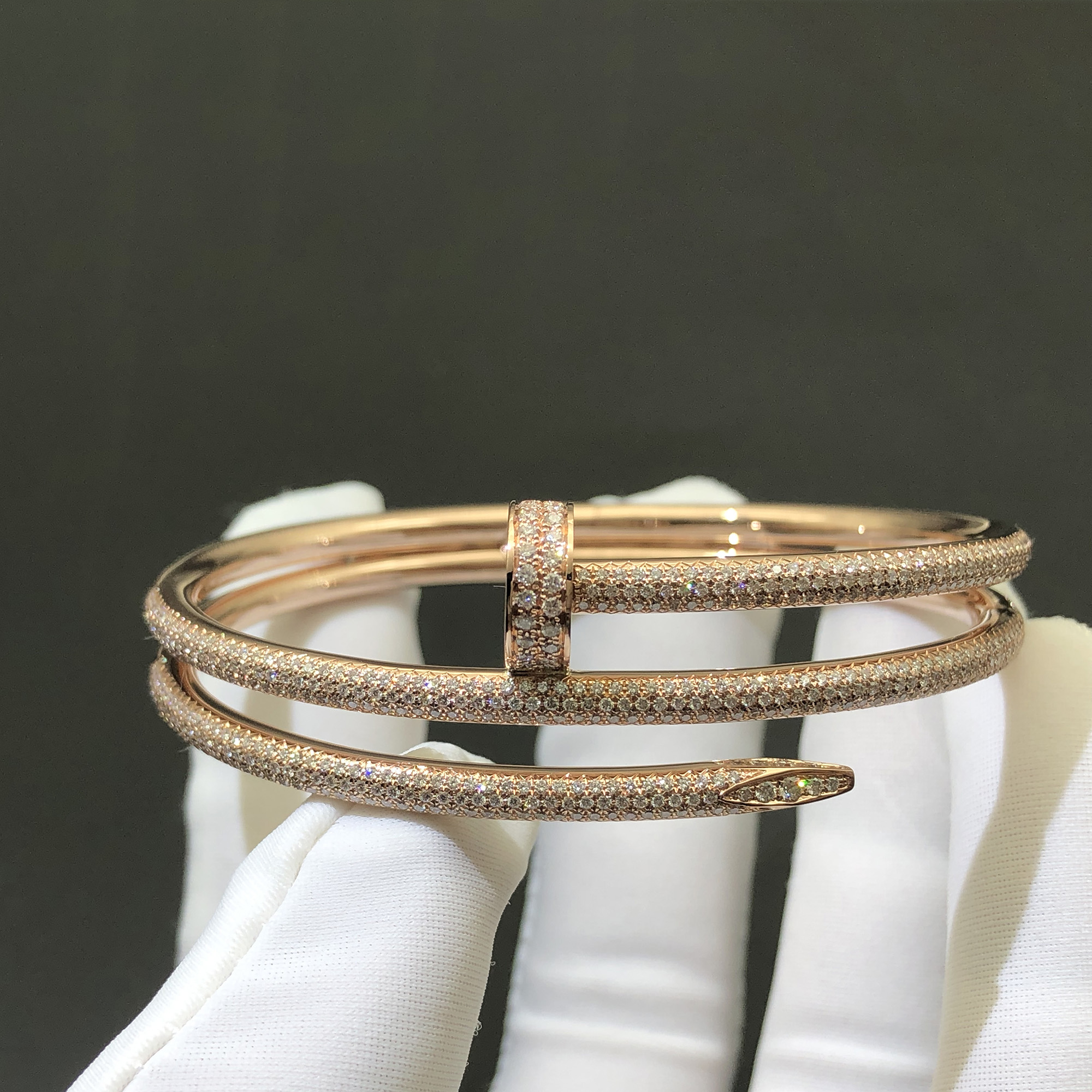 Inspired Juste un Clou Bracelet in 18K Pink Gold Set with 624 Brilliant-cut Diamonds