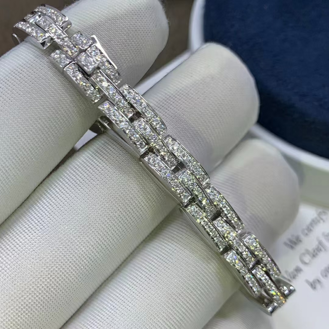 Cartier Maillon Panthere Three-Row Link Bracelet with Diamonds in 18k White Gold N6701000
